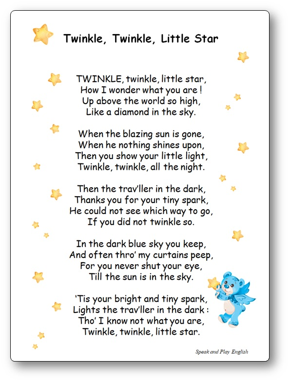 """Comptine """"Twinkle, Twinkle, Little Star"""", paroles complètes en anglais et en français"""