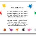Comptine Red and Yellow Blue and Green Paroles illustrées à imprimer