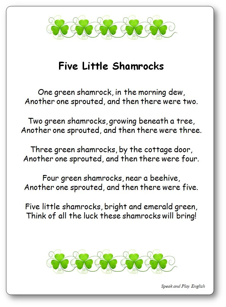 Five Little Shamrocks comptine, Paroles Five Little Shamrocks