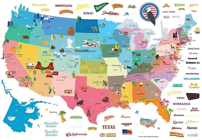 Poster carte des États-Unis : États et capitales