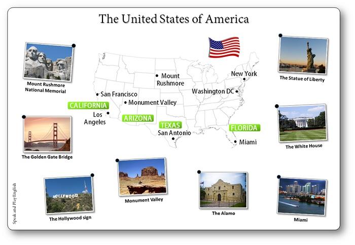 carte des etats unis avec les grandes villes, carte USA States
