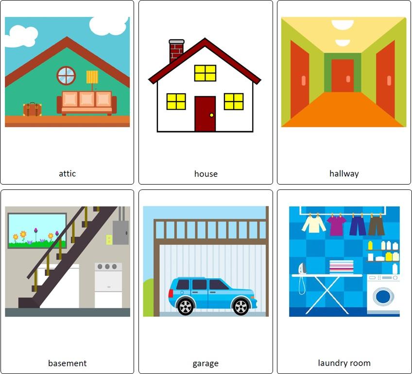 pièces de la maison en anglais. flashcards maison anglais. vocabulaire anglais maison.