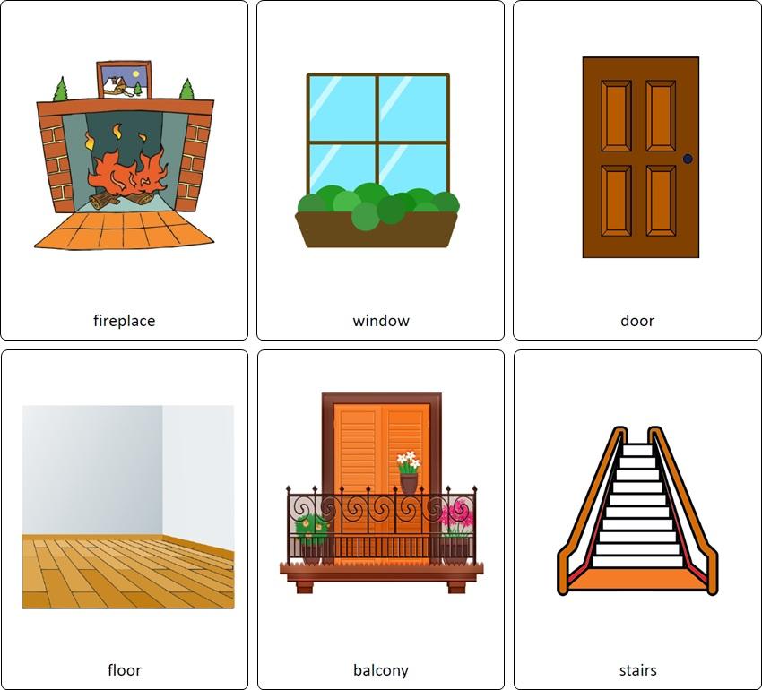 flashcards maison anglais. vocabulaire anglais maison. pièces de la maison en anglais.