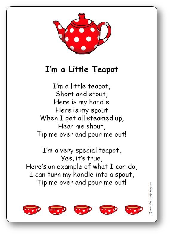 I'm A Little Teapot Comptine traditionnelle anglais, traduction française