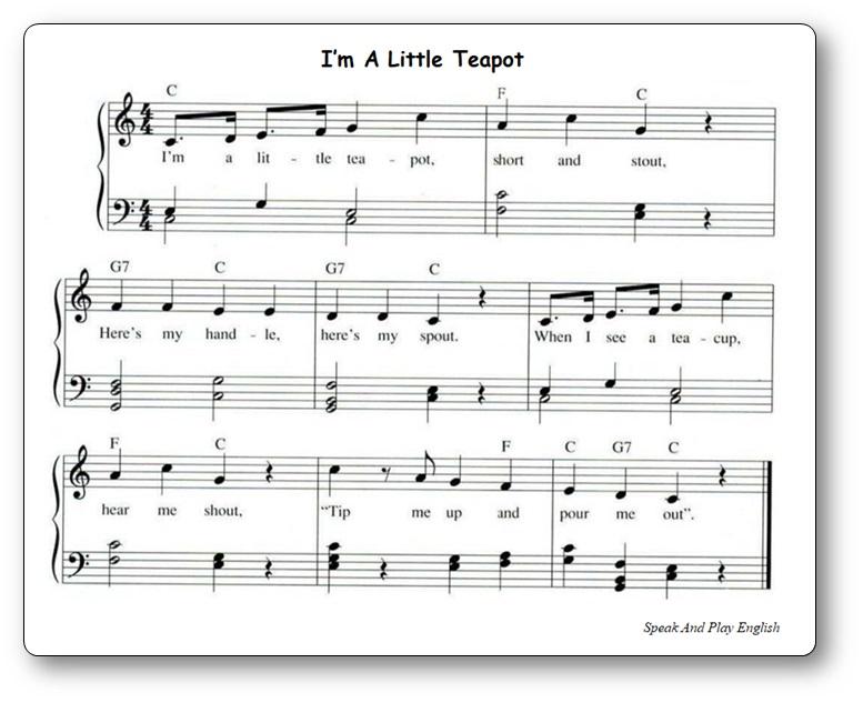 Partition de musique de la comptine I'm A Little Teapot à imprimer gratuitement