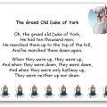 The Grand Old Duke of York comptine du Royaume-Uni en anglais et en français