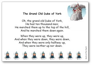 The Grand Old Duke of York comptine du Royaume-Uni en anglais et en français
