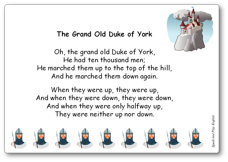 The Grand Old Duke of York comptine du Royaume-Uni en anglais et en français, The Grand Old Duke of York paroles