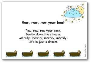 Row, Row, Row Your Boat Comptine en anglais, paroles illustrées à imprimer