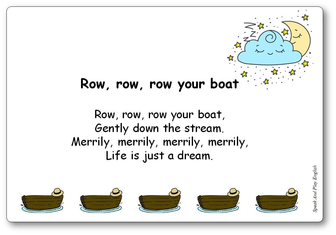 Row, Row, Row Your Boat Comptine en anglais, paroles illustrées à imprimer, Row Your Boat paroles