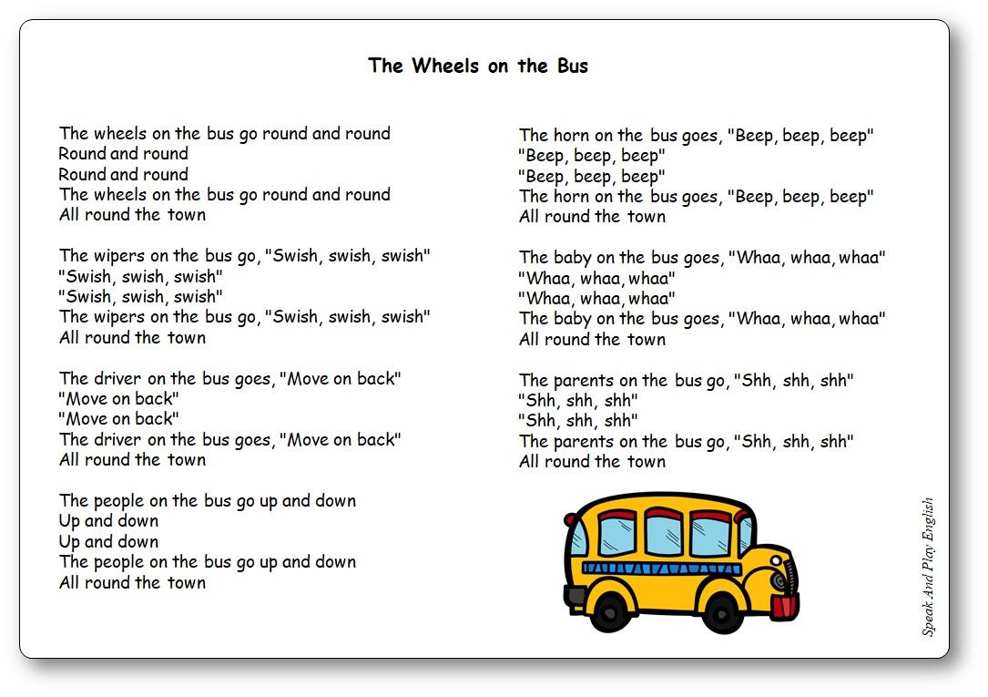 The Wheels on the Bus Paroles de la chanson en anglais et en français