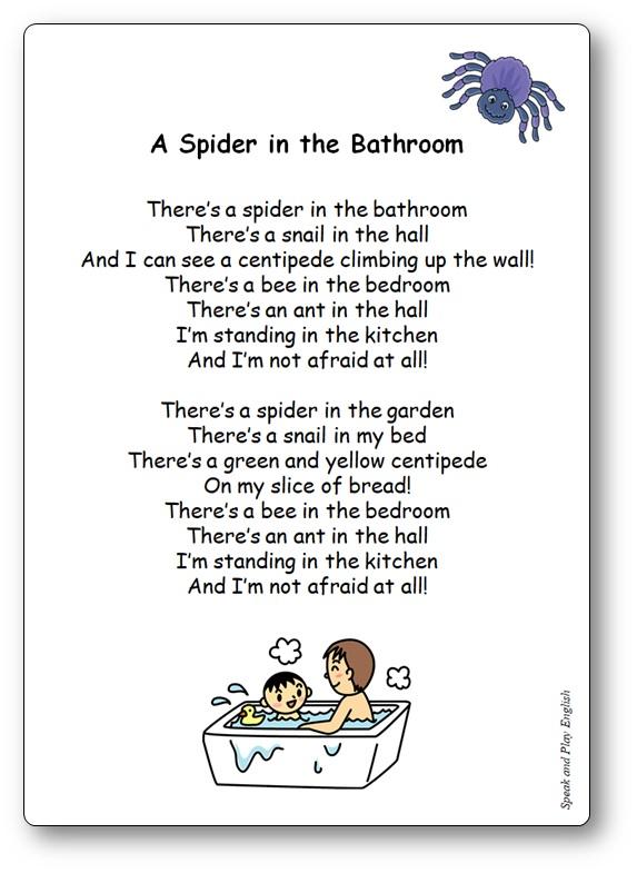 Chanson A Spider in the Bathroom Paroles en anglais et en français, Comptine A Spider in the Bathroom