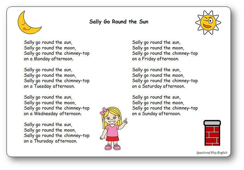 Chanson jours semaine anglais Sally Go Round The Sun paroles