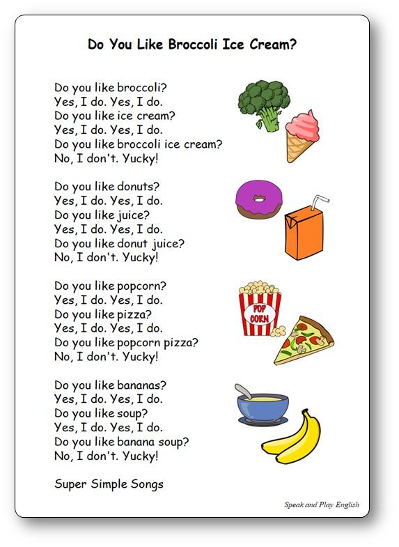 Chanson nourriture anglais Do You Like Broccoli Ice Cream? Do You Like Broccoli Ice Cream Paroles