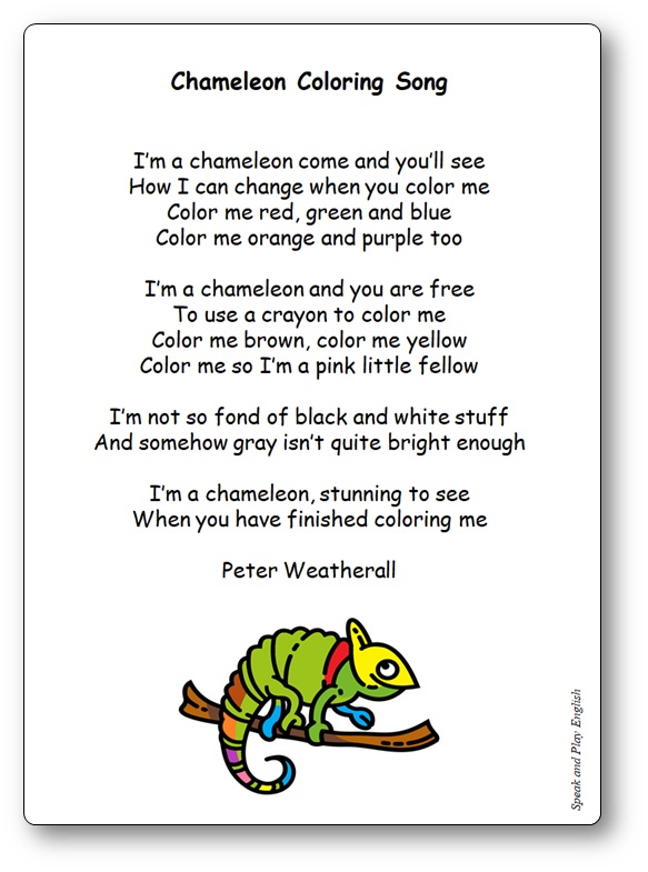 Comptine Chameleon Coloring Song de Peter Weatherall, comptine couleur anglais caméléon