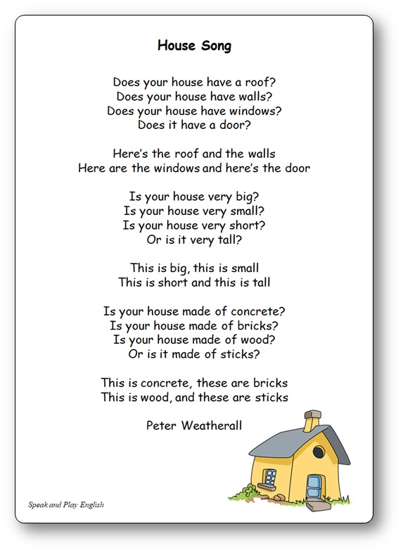 Comptine House Song de Peter Weatherall, chanson pièces de la maison anglais, House Song Peter Weatherall