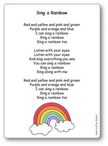 Comptine I Can Sing a Rainbow Paroles