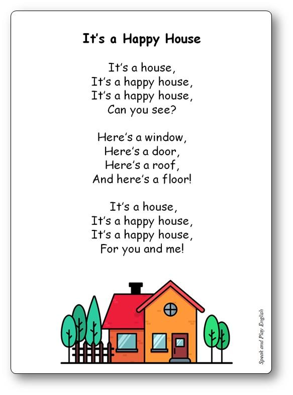 Comptine It's a Happy House habitation anglais, comptine lexique maison anglais