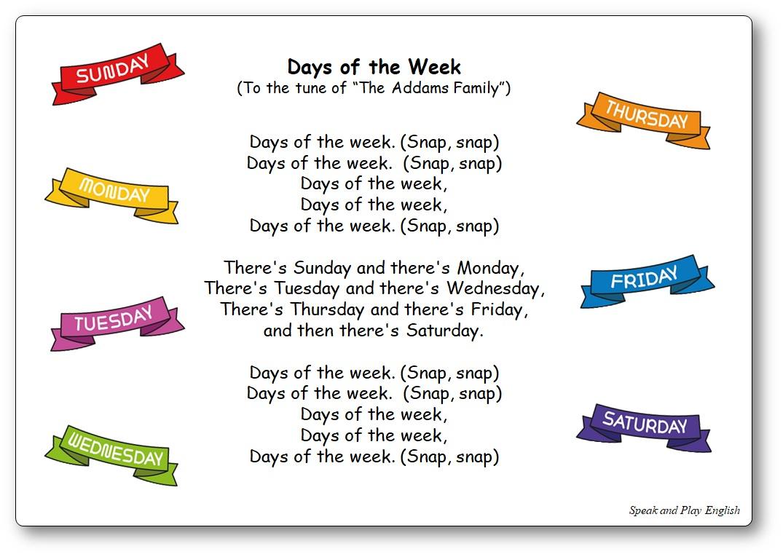 Comptine jours de la semaine en anglais Days of the Week sur l'air de la famille Addams, comptine Days of the Week