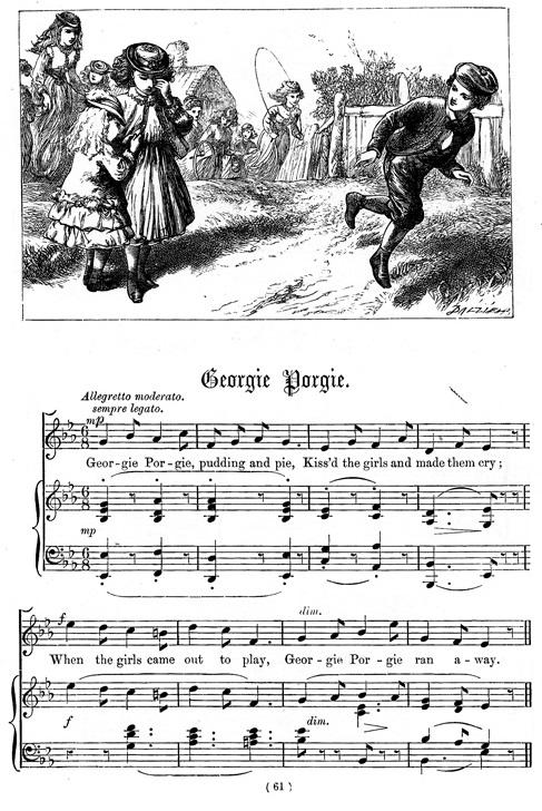 Georgie Porgie une comptine de Dalziel et Elliott parue sur National Nursery Rhyme en 1870
