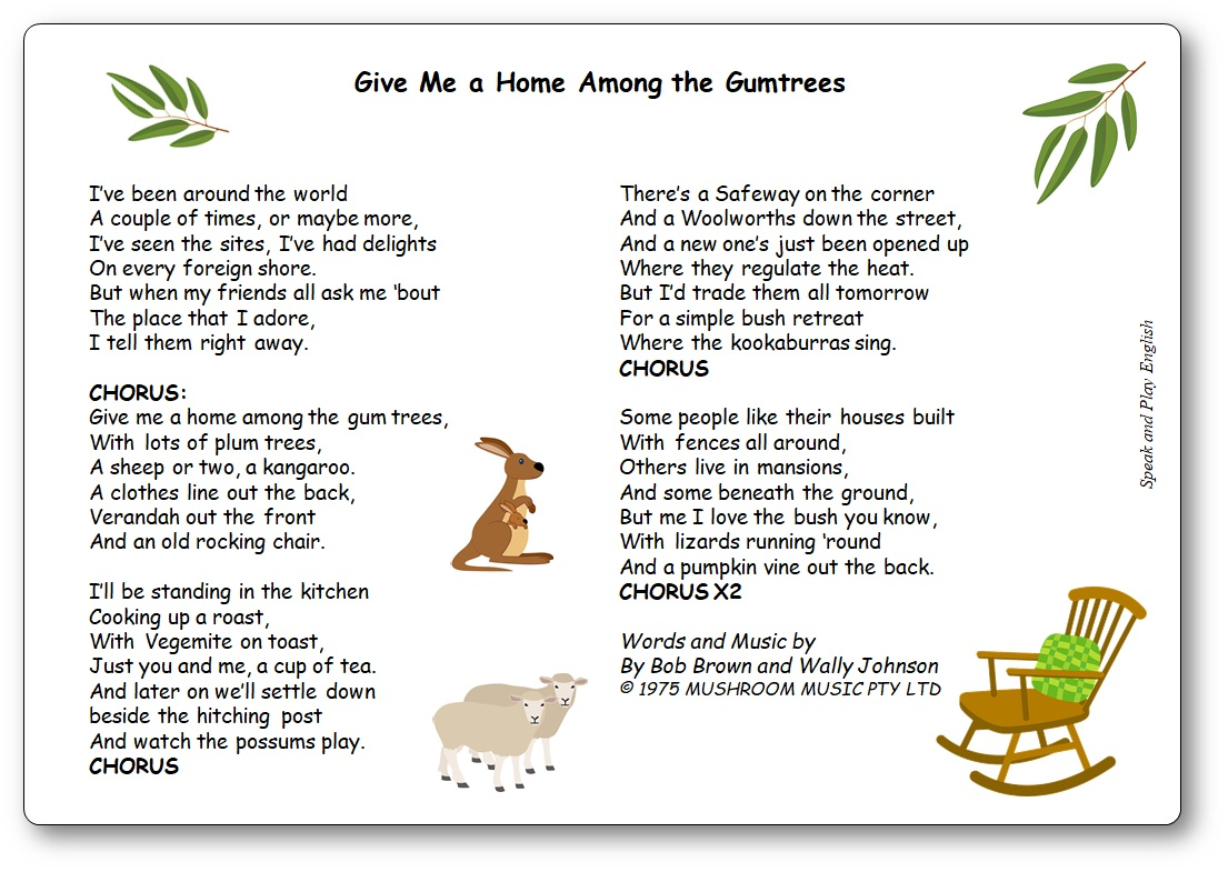 Give Me a Home Among the Gumtrees Paroles chanson australienne