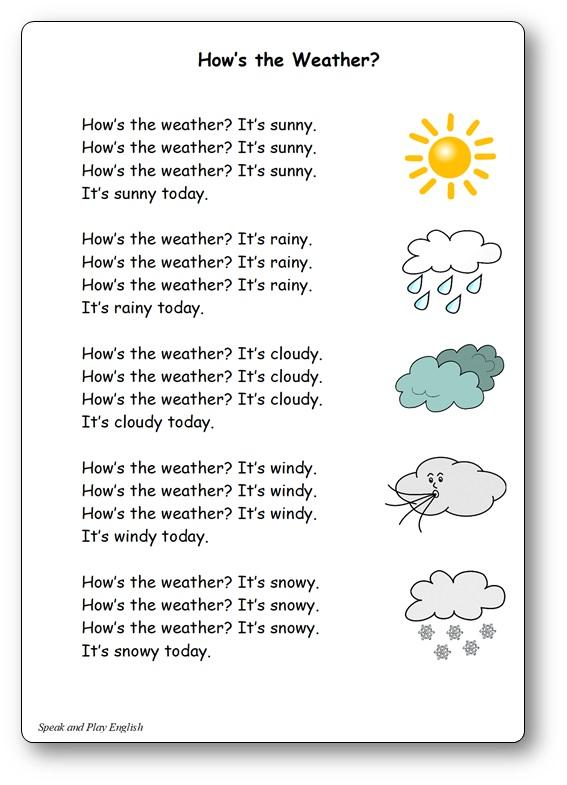 How's the Weather comptine météo en anglais, how's the weather paroles