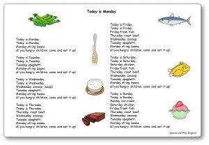 Today is Monday chanson album Eric Carle