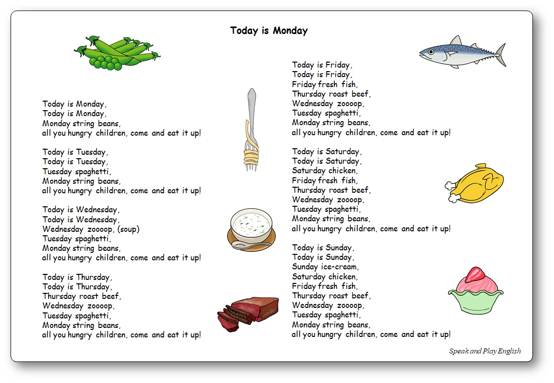 Today is Monday chanson album Eric Carle, chanson Today is Monday